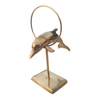 Vintage Brass Jumping Dolphin Sculpture