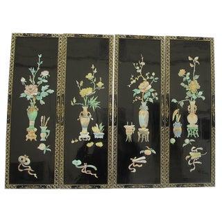 Vintage Four-Panel Japanese Floral Motif Screen