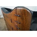 Image of Vintage Brazilian Walnut & Black Leather Wing Sofa