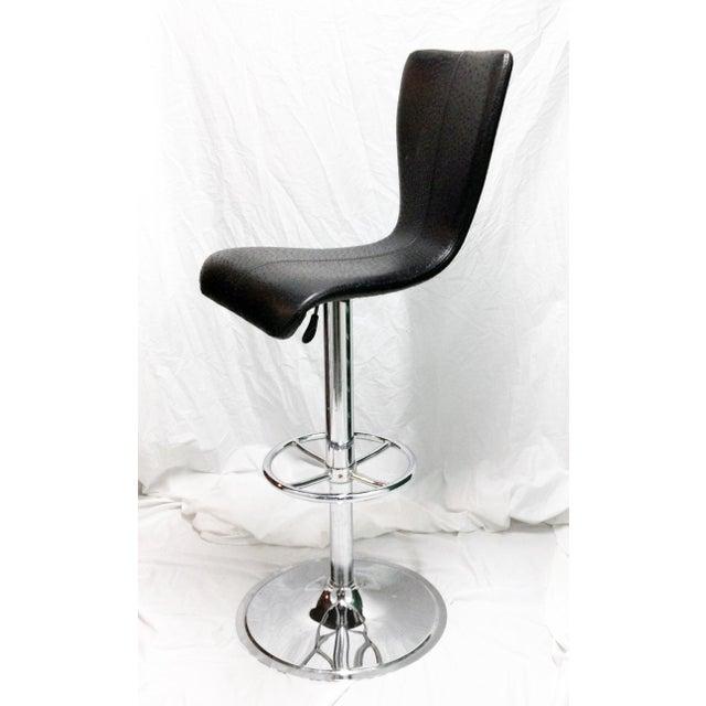 Black & Chrome Ostrich Stool - Image 4 of 6