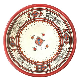 Moroccan Hand-Painted Medium Red Ceramic Bowl
