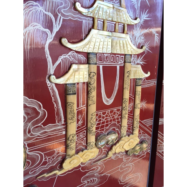 Vintage Chinoiserie Folding Screen - Image 3 of 10