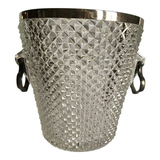 Diamond Point Crystal Glass Ice Bucket