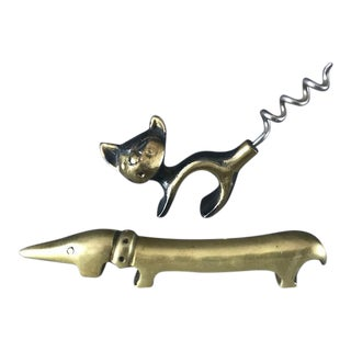 Mid-Century Walter Bosse Solid Brass Cat Corkscrew and Dachshund Bottle Opener