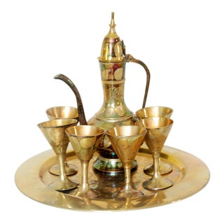 Vintage Miniature Brass Middle Eastern Teapot Set
