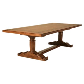 Vintage French Walnut Trestle Dining Table