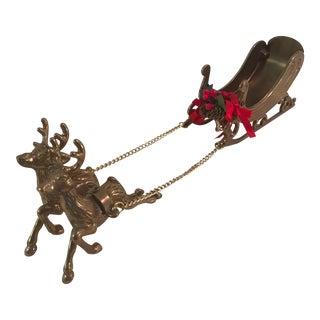 Vintage Brass Reindeer and Sleigh