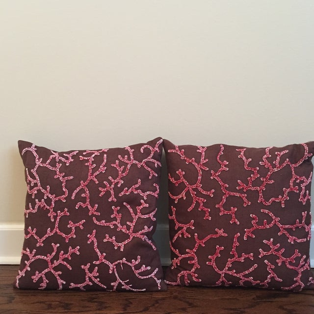 Beaded Linen Pillows - A Pair - Image 2 of 3