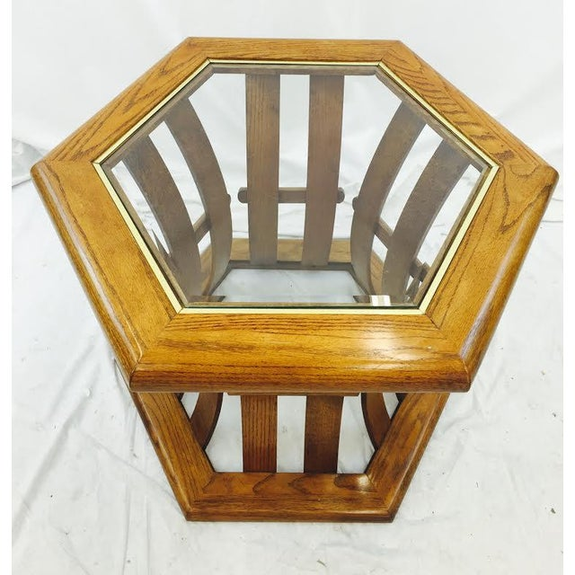Retro Mid Century Wood & Glass Top Side Table - Image 6 of 7