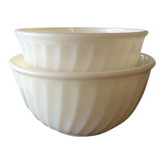 Fire King Milk Glass Swirl Bowls - Pair