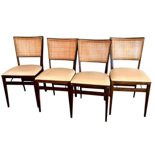 Stakmore Cane & Walnut Stained Folding Chairs - Set of 4