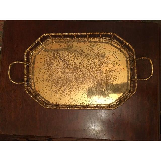 Hollywood Regency Bamboo Brass Tray - Image 3 of 5