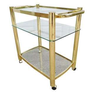 Modernist Brass & Glass Large Vintage Bar Cart
