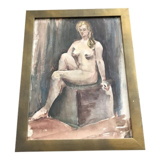 Antique Nude Watercolor Painting