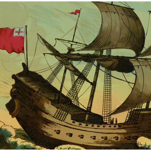 European Sail Boat Woodcut - Image 2 of 3