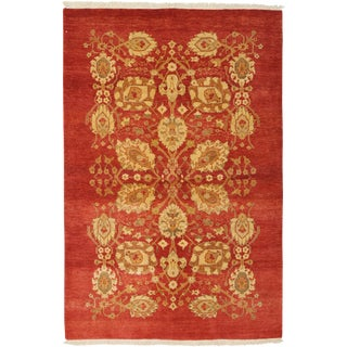 """New Ottoman Hand Knotted Area Rug - 4'2"""" x 5'10"""""""
