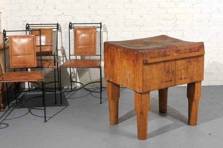 american antique butcher block table chairish