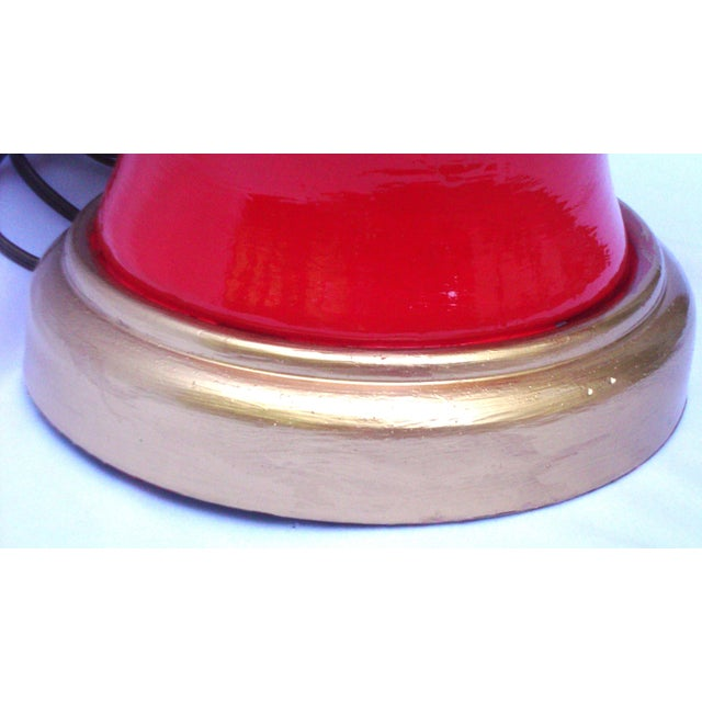 Image of Hollywood Regency Red Lacquer Ceramic Lamp