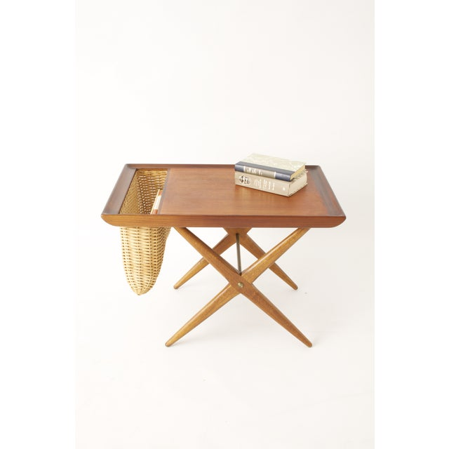 Teak Walnut MCM Side Table Woven Magazine Basket - Image 5 of 11