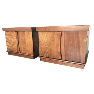 Mid-Century Modern Walnut Cabinet Nightstands or End/Side Tables - a Pair
