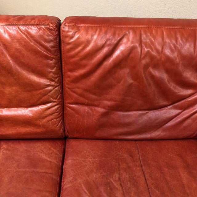 Roche Bobois Vintage Red Leather Sofa - Image 7 of 10