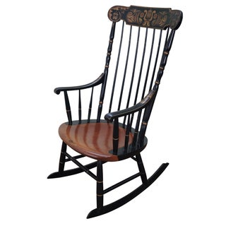Hitchcock Black Painted Stenciled Rocking Chair