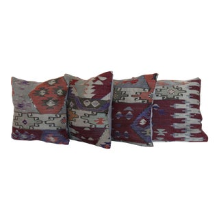 Decorative Vintage Wool Kilim Rug Pillows - Set of 4