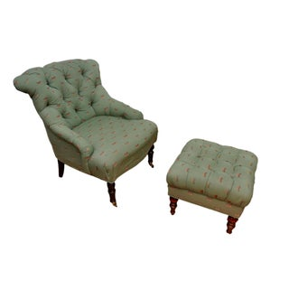 Custom Upholstered Occasional Chair & Ottoman