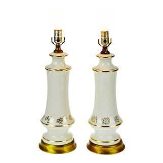 Hollywood Regency Porcelain & Brass Table Lamps - A Pair
