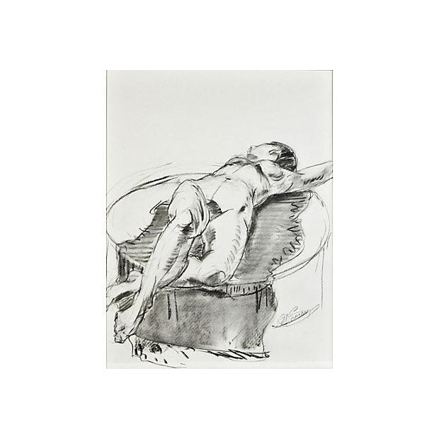 Image of Reclining Nude on Blanket Drawing