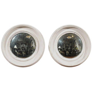 Pair of French Late 19th Century Light Colored Round Mirrors with Convex Glass