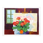 Image of Guy Charon Lithograph - Red Flowers With Painting