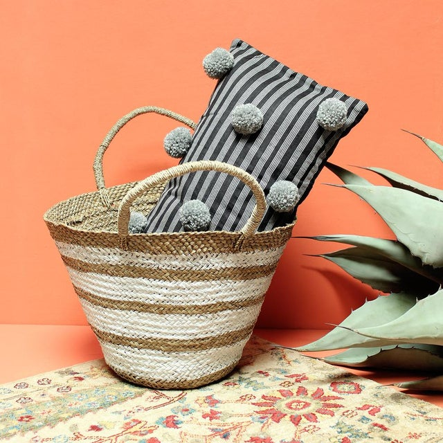Black Handwoven Lurik Striped Pillow With Concrete Grey Pom-Poms - Image 6 of 7
