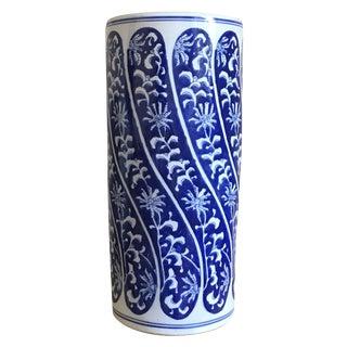 Large Antique Blue Chinoiserie Umbrella Stand/Vase