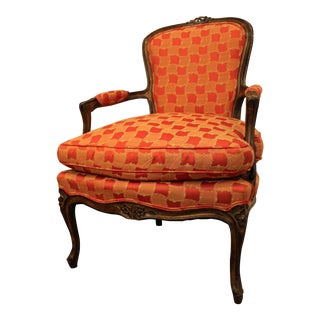 Vintage French Louis XV Style Carved Ladies Arm Chair