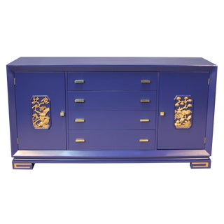 James Mont Navy Lacquered Sideboard