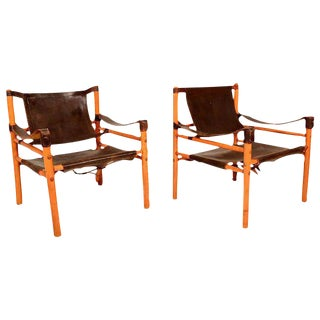 Pair of Leather & Wood Safari Chairs