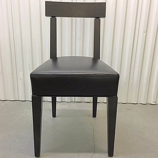 Image of Four Promemoria Wenge Leather Dining Chairs - Four