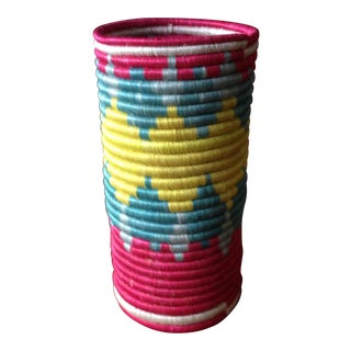 Vintage Moroccan Straw Floral Vase