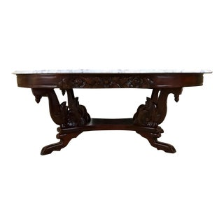 1940s Kimball Solid Mahogany Victorian Style Coffee Table