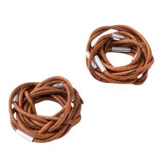 Vance Handmade Leather Napkin Rings - A Pair