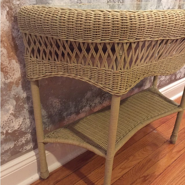 Rattan & Glass Pale Green Half Moon Console Table - Image 3 of 4
