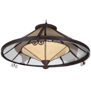Restored Chandelier with Faux Parchment Shade