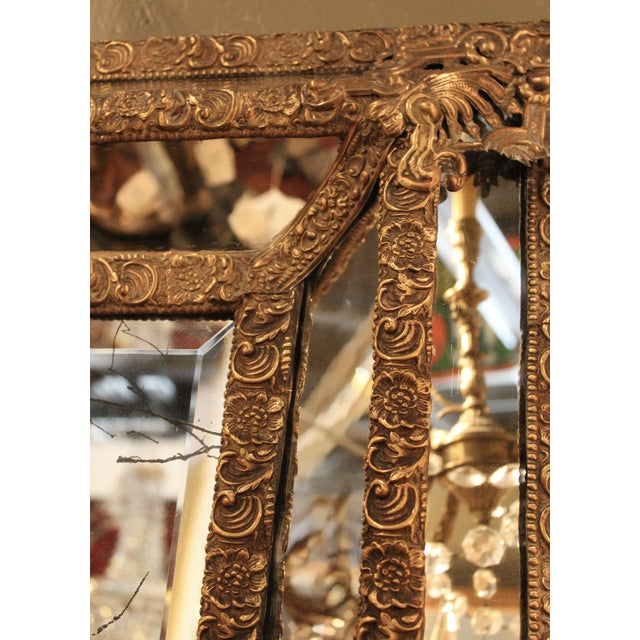 1870 Antique Italian Repousse Brass Mirror - Image 6 of 7