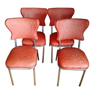 Retro 1950s Vinyl & Chrome Dining Chairs - Set of 4