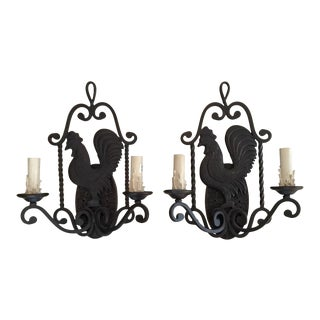 French Country Iron Rooster Sconces - A Pair