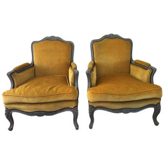 Early 1900's Yellow Velvet French Bergeres - Pair