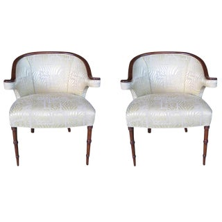 A Shapely Pair of English Regency-Inspired Mahogany Salon Chairs
