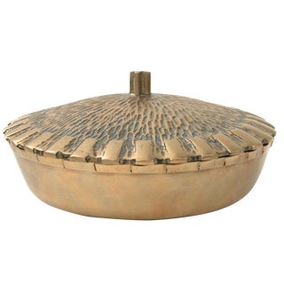 Brass Bowl with Faux-Thatch Lid