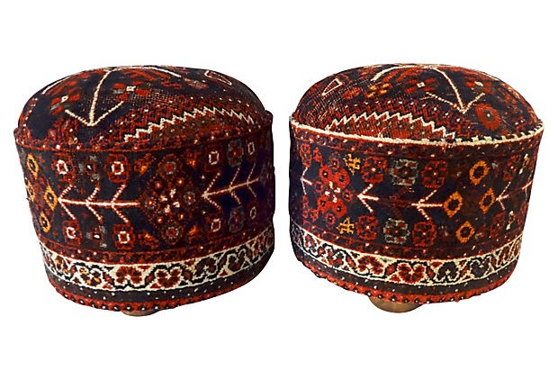 antique persian rug ottomans a pair image 5 of 7